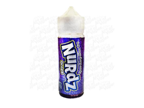 A bottle of Nurdz e-liquid grape flavour