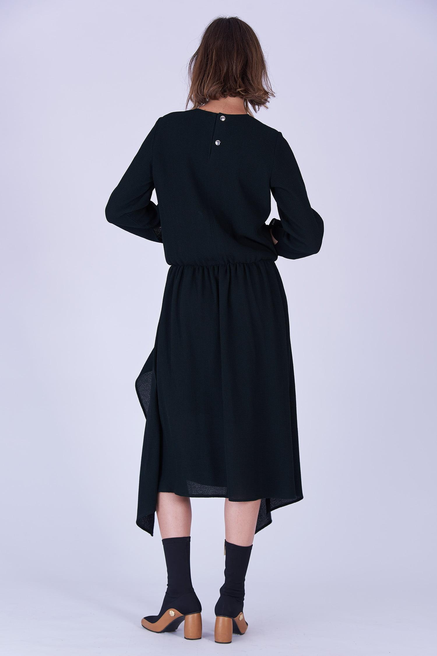 Acephala Fw19 20 Black Midi Draped Woolen Dress Czarna Sukienka Welniana Drapowana Back 1