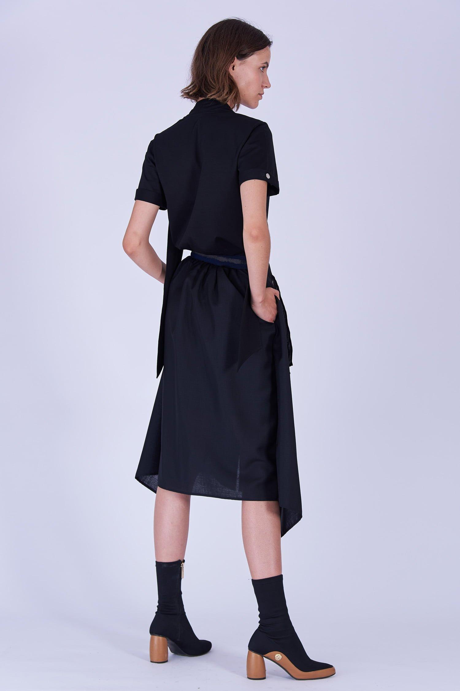 Acephala Fw19 20 Black Skirt Draped Czarna Spodnica Drapowana Back