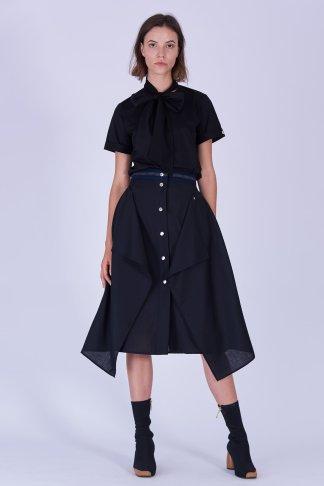 Acephala Fw19 20 Black Skirt Draped Czarna Spodnica Drapowana Front 2