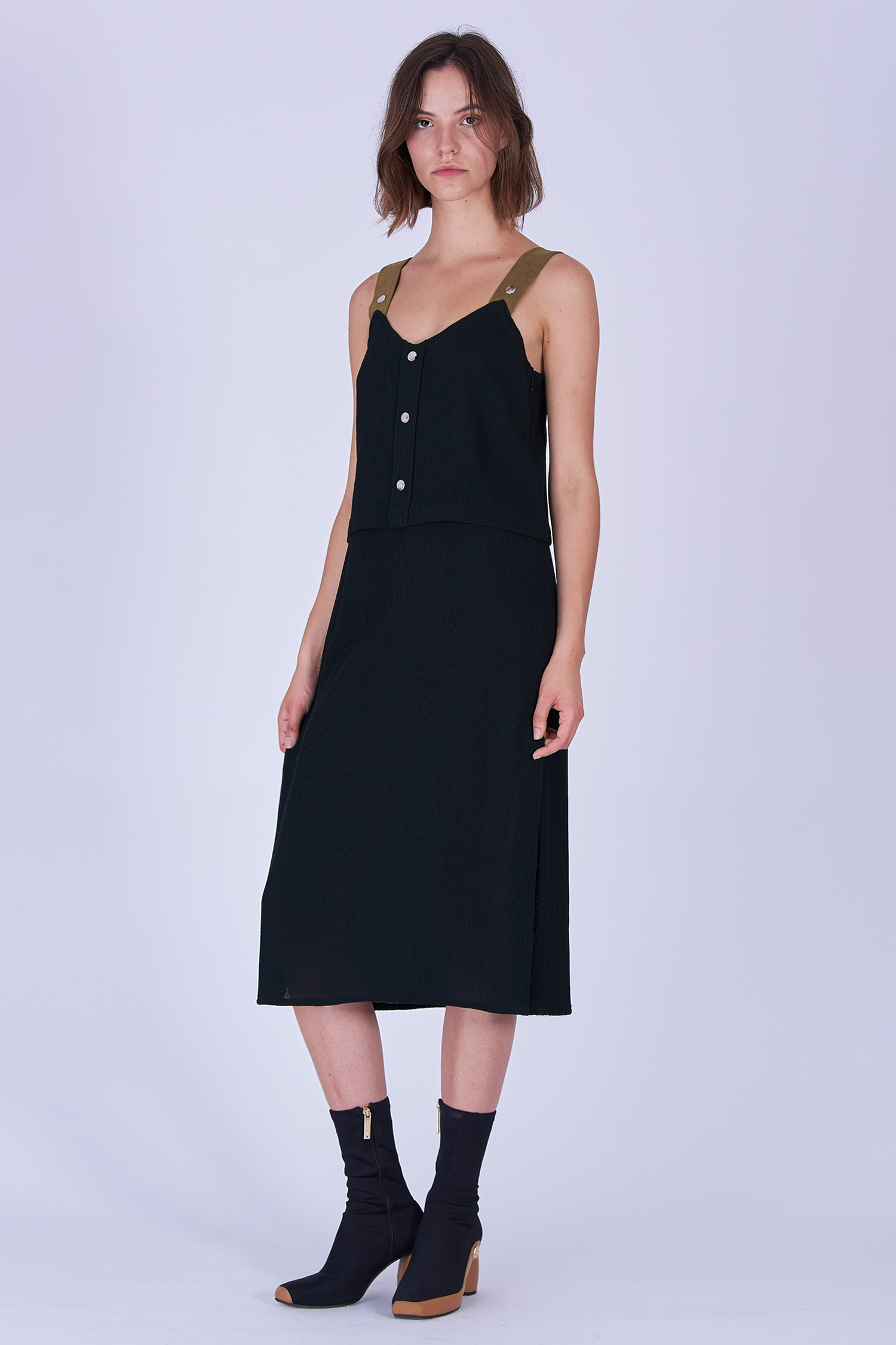 Acephala Fw19 20 Black Strap Midi Dress Czarna Sukienka Szelki Side