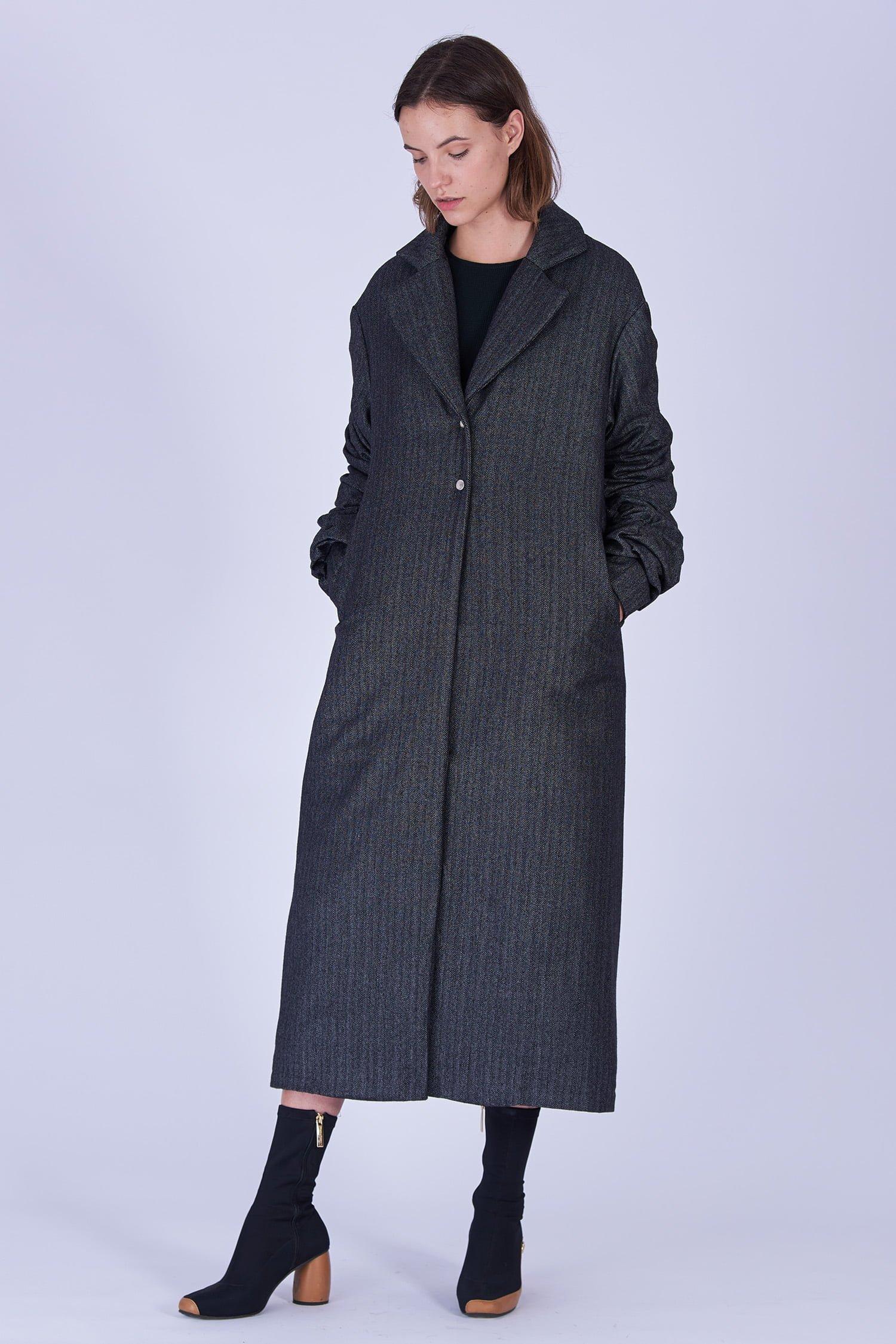 Acephala Fw19 20 Coat Long Grey Herringbone Plaszcz Dlugi Szary Jodelka