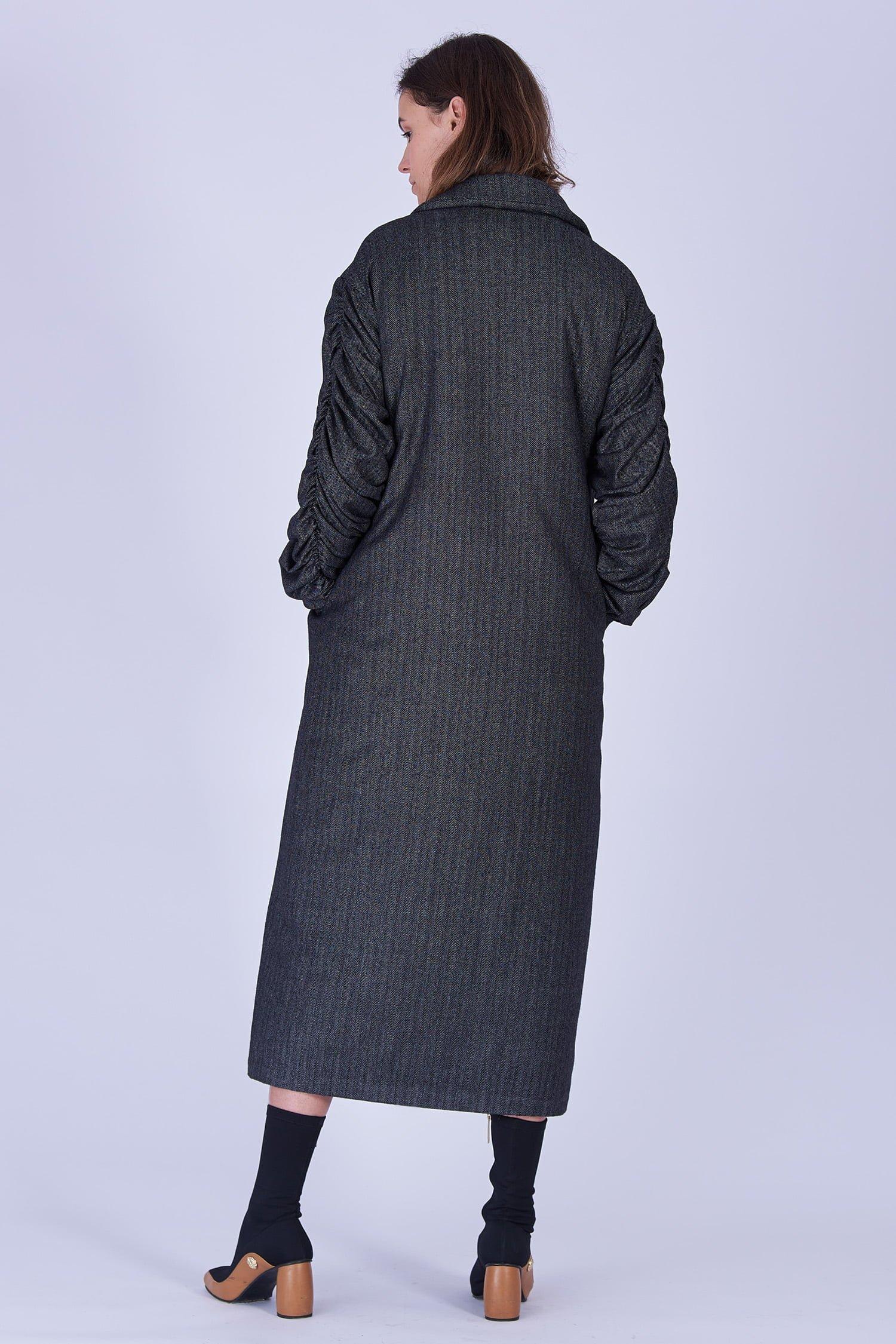 Acephala Fw19 20 Coat Long Grey Herringbone Plaszcz Dlugi Szary Jodelka Back