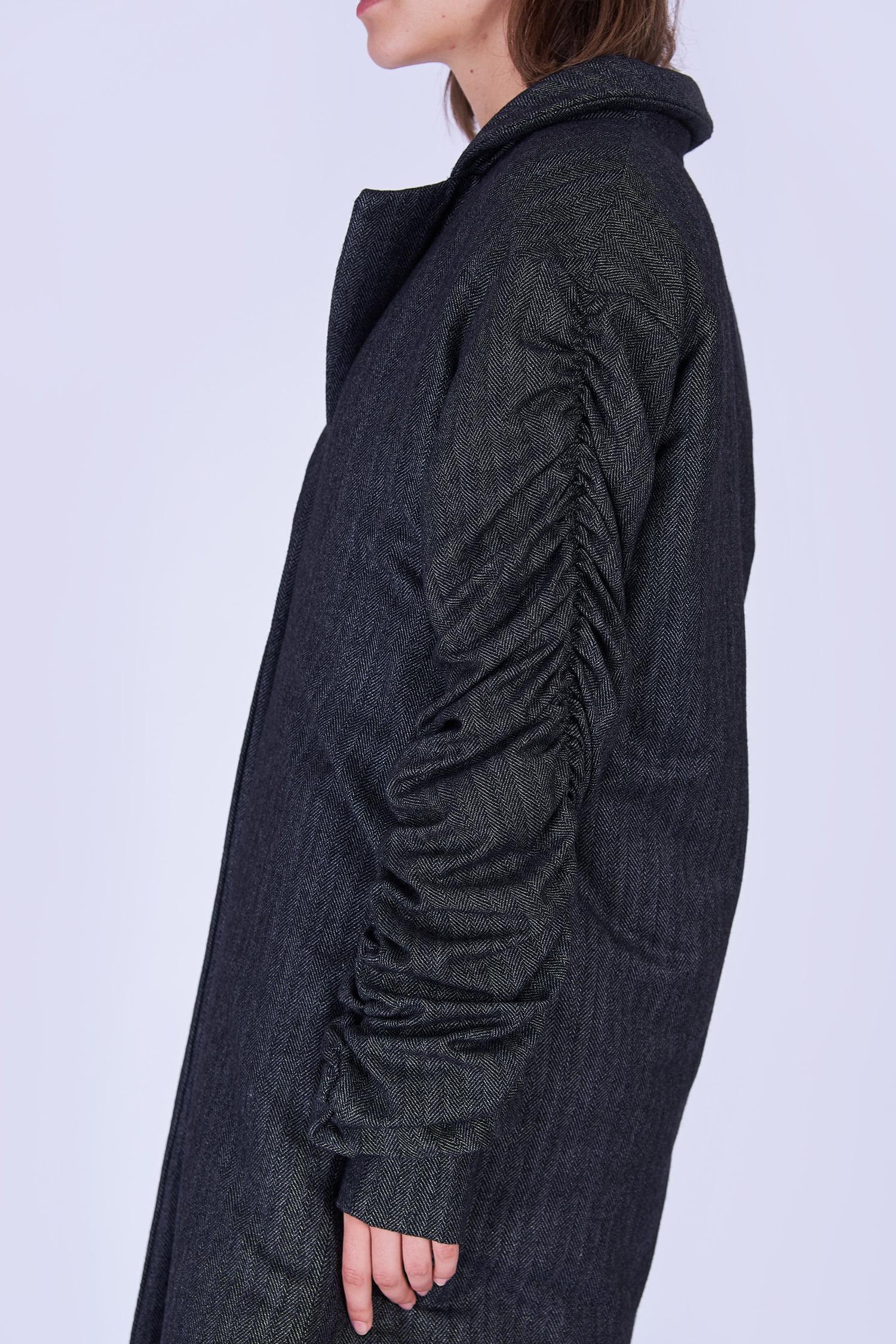 Acephala Fw19 20 Coat Long Grey Herringbone Plaszcz Dlugi Szary Jodelka Detail