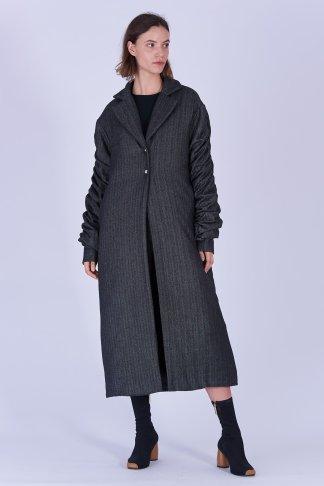 Acephala Fw19 20 Coat Long Grey Herringbone Plaszcz Dlugi Szary Jodelka Front 2