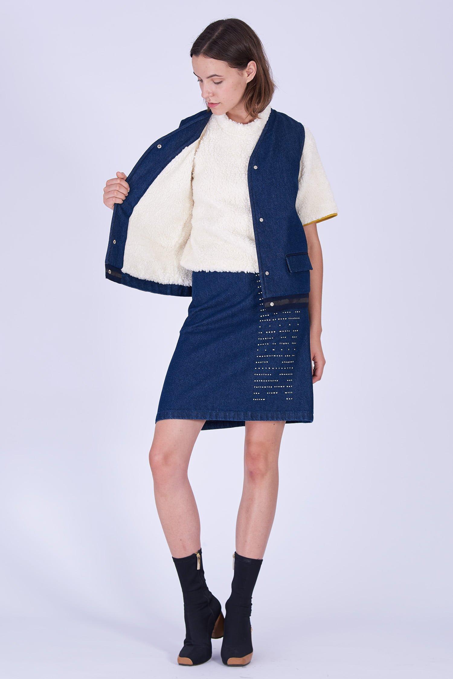 Acephala Fw19 20 Sleeveless Denim Vest Fleece Spodnica Denim Print Kamizelka Jeans Baranek Spodnica Jeans Nadruk Front 2