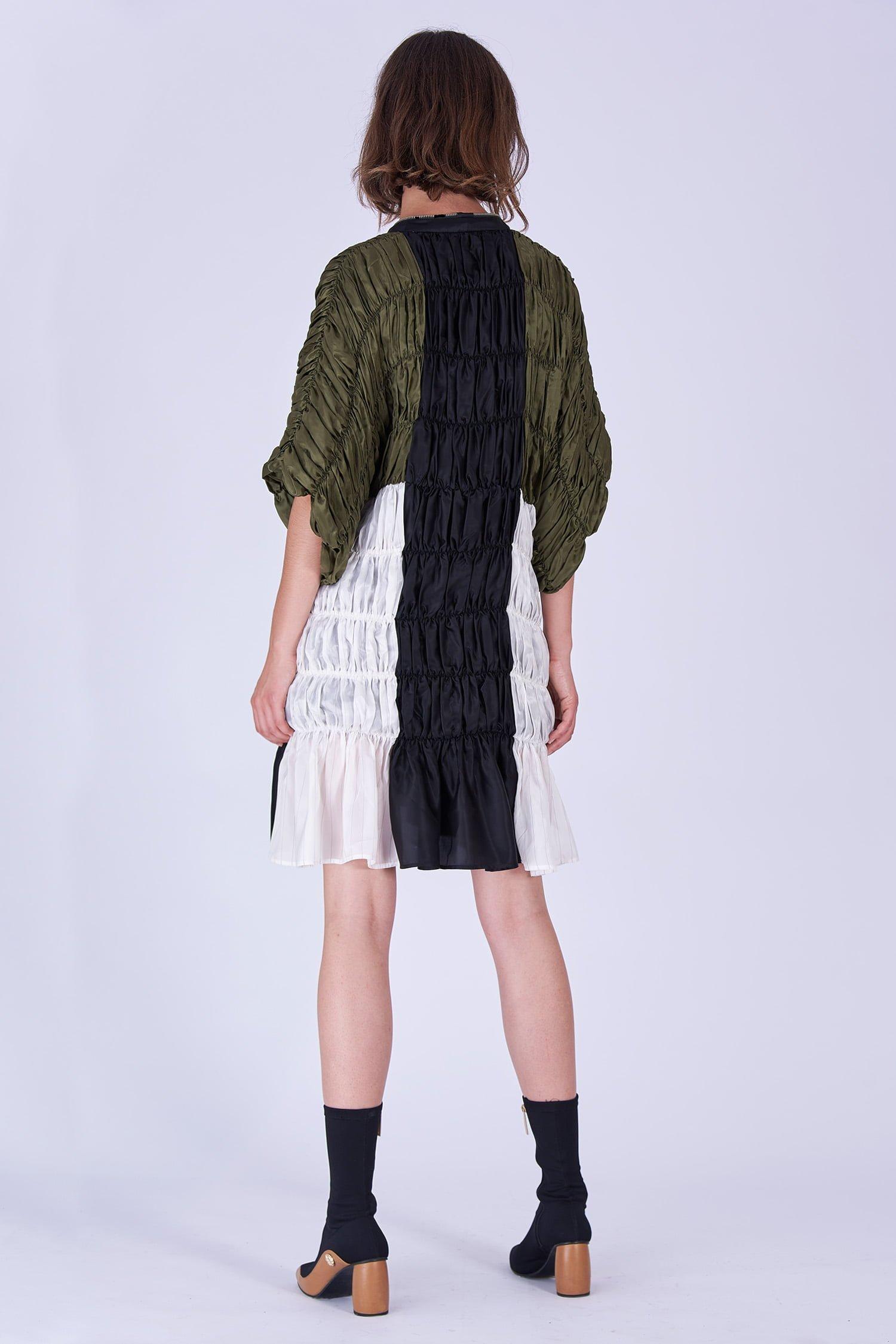 Acephala Fw19 20 Green Black White Gathered Dress Sukienka Marszczona Zielona Biala Czarna Marszczona Back 2