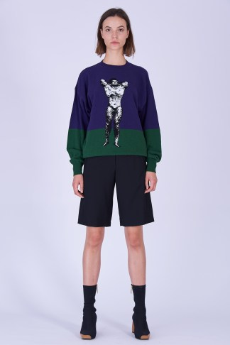 Acephala Fw19 20 Purple Green Bodybuilder Jumper Black Shorts Fioletowo Zielony Sweter Czarne Szorty Front 2
