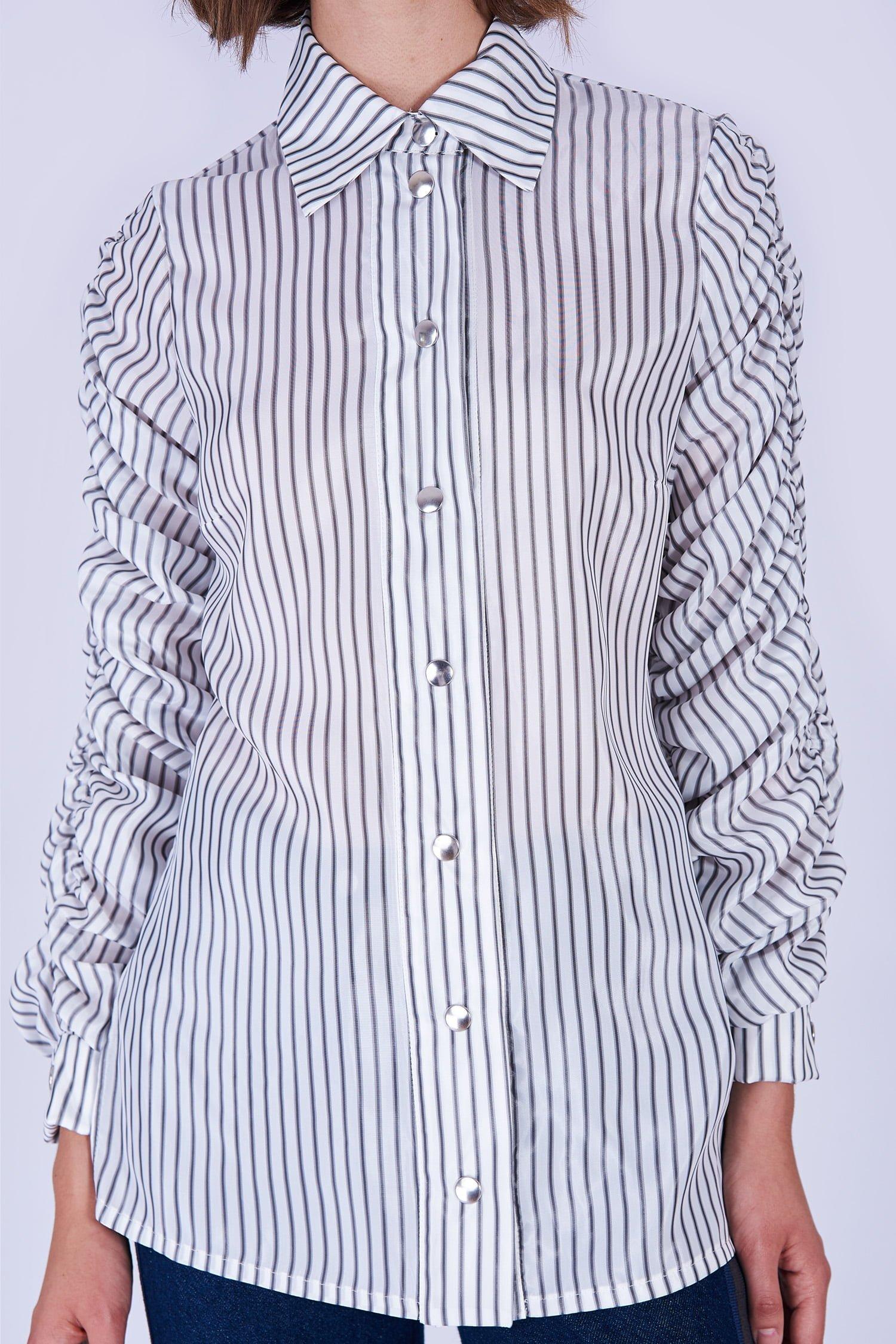 Acephala Fw19 20 White Striped Buttoned Shirt Biala Koszula Paski Detail 2