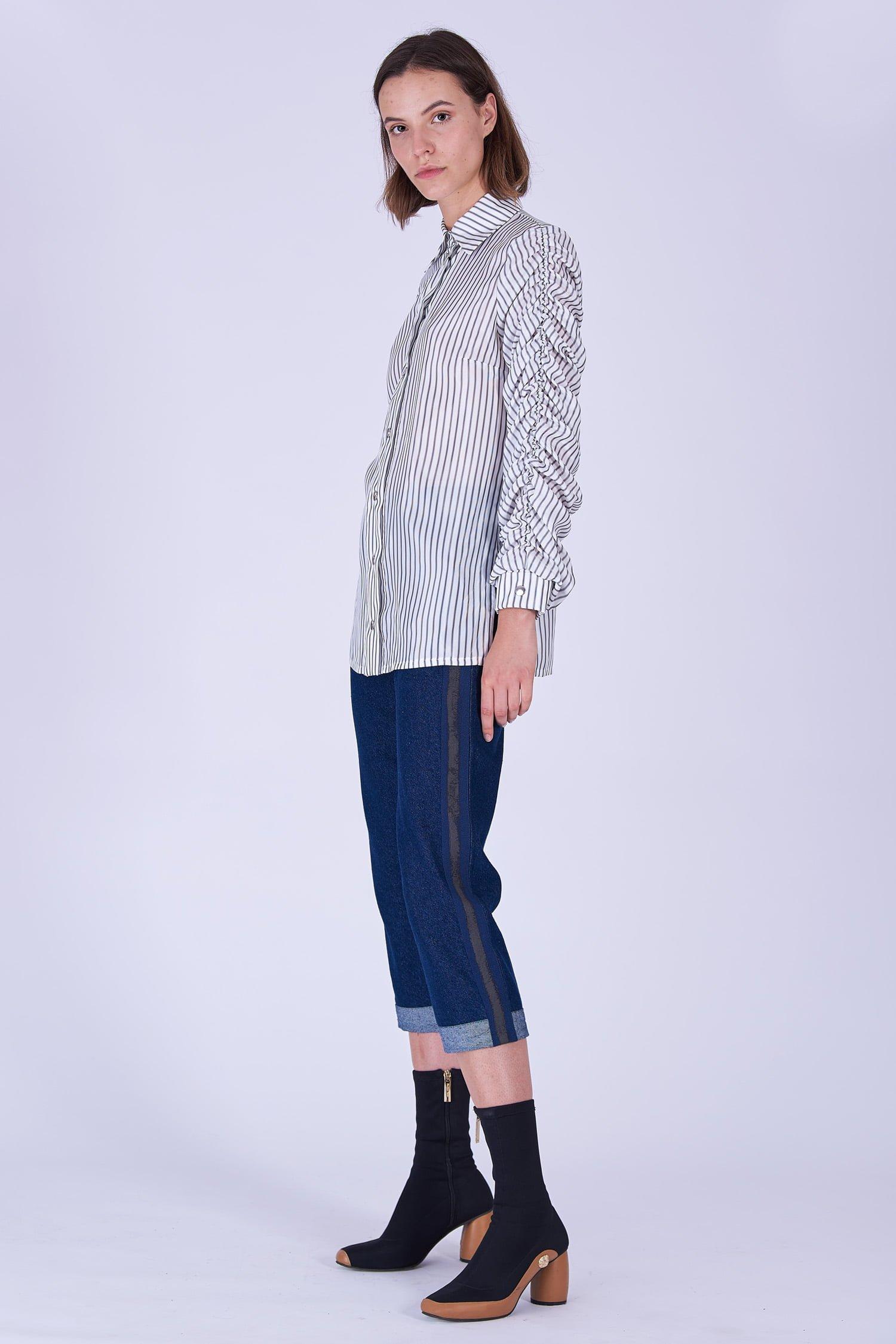 Acephala Fw19 20 White Striped Buttoned Shirt Biala Koszula Paski Side 1