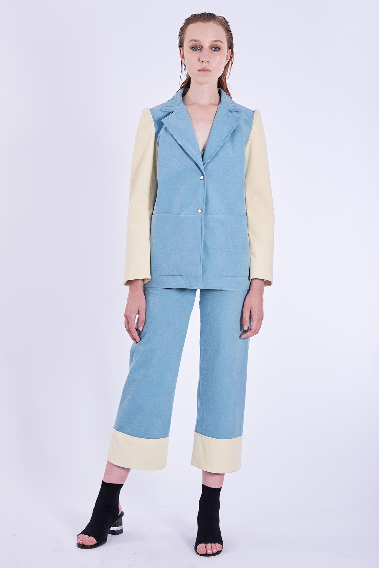 Acephala Ps2020 Blue Suit Suade Alcantara Blekitny Garnitur Front 2