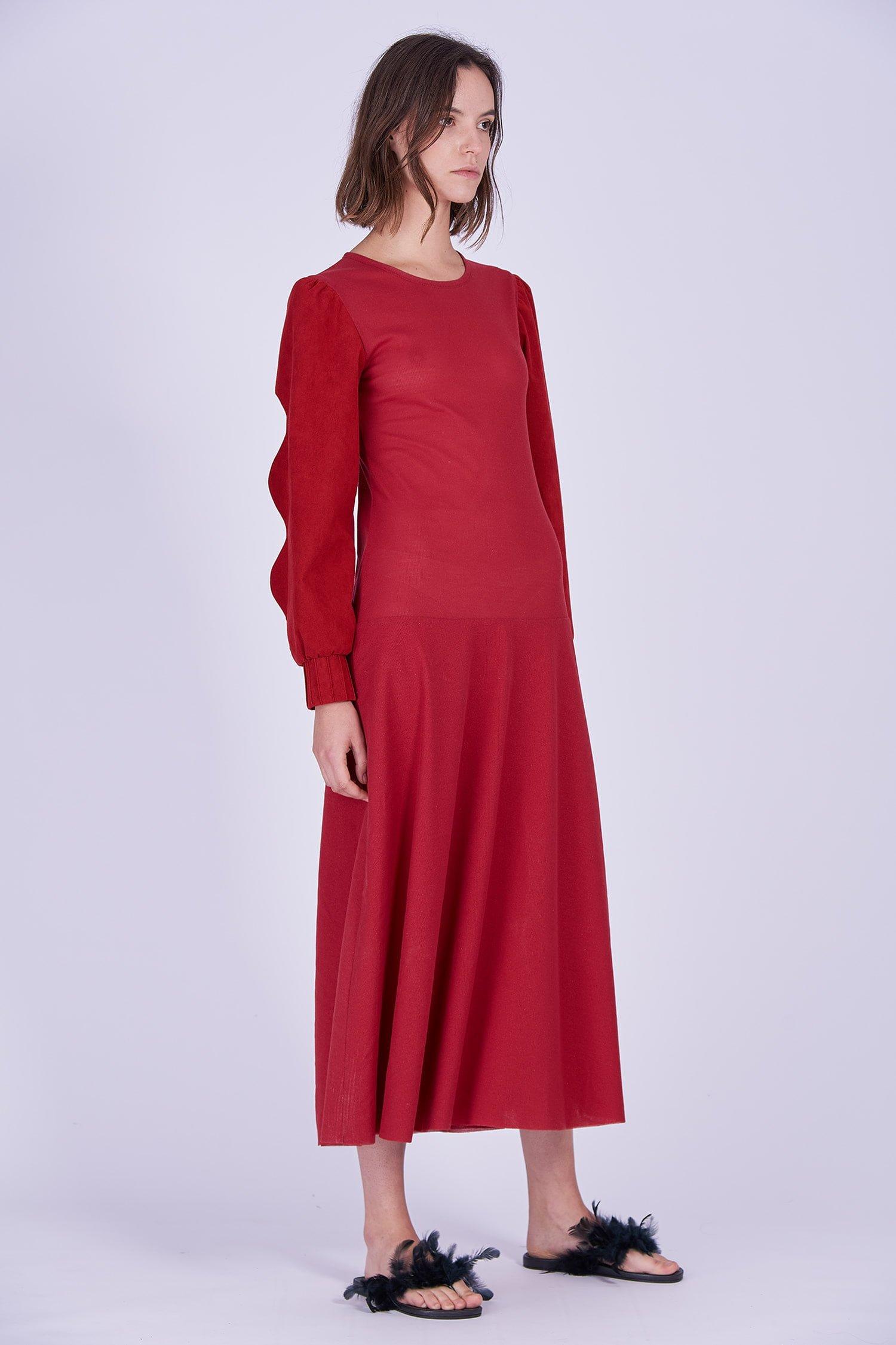 Acephala Ps2020 Red Maxi Evening Dress Czerwona Suknia Wieczorowa Front Side
