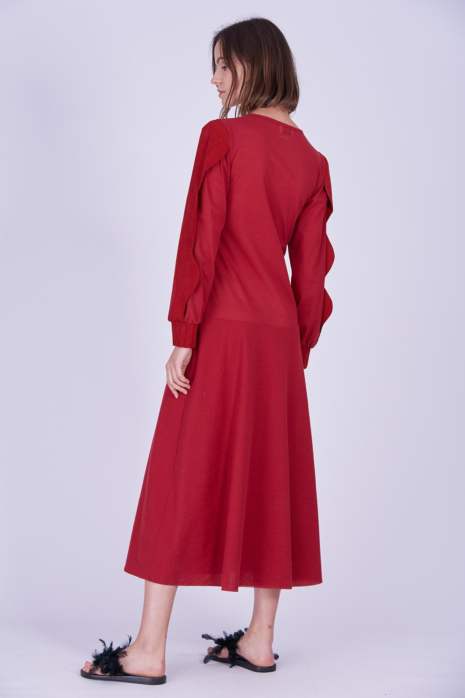 Acephala Ps2020 Red Maxi Evening Dress Czerwona Suknia Wieczorowa Side Back