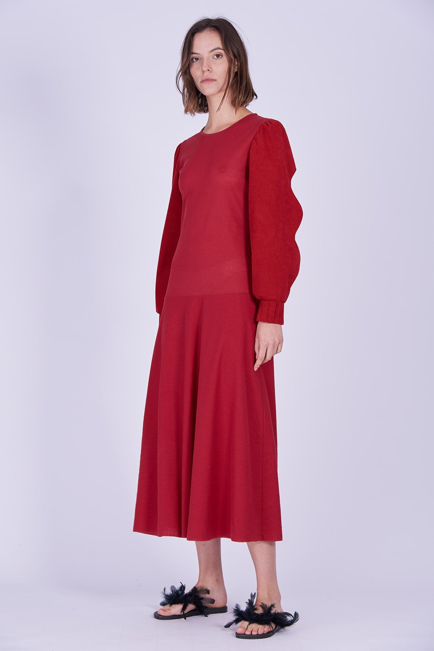 Acephala Ps2020 Red Maxi Evening Dress Czerwona Suknia Wieczorowa Side