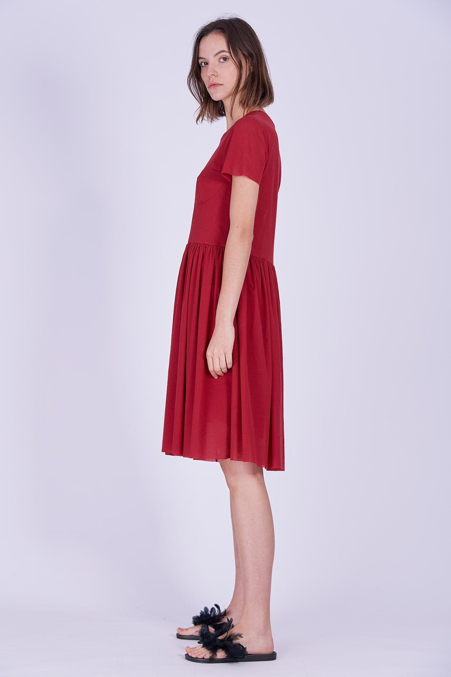 Acephala Ps2020 Red Midi Date Dress Czerwona Sukienka Wieczorowa Randka Side