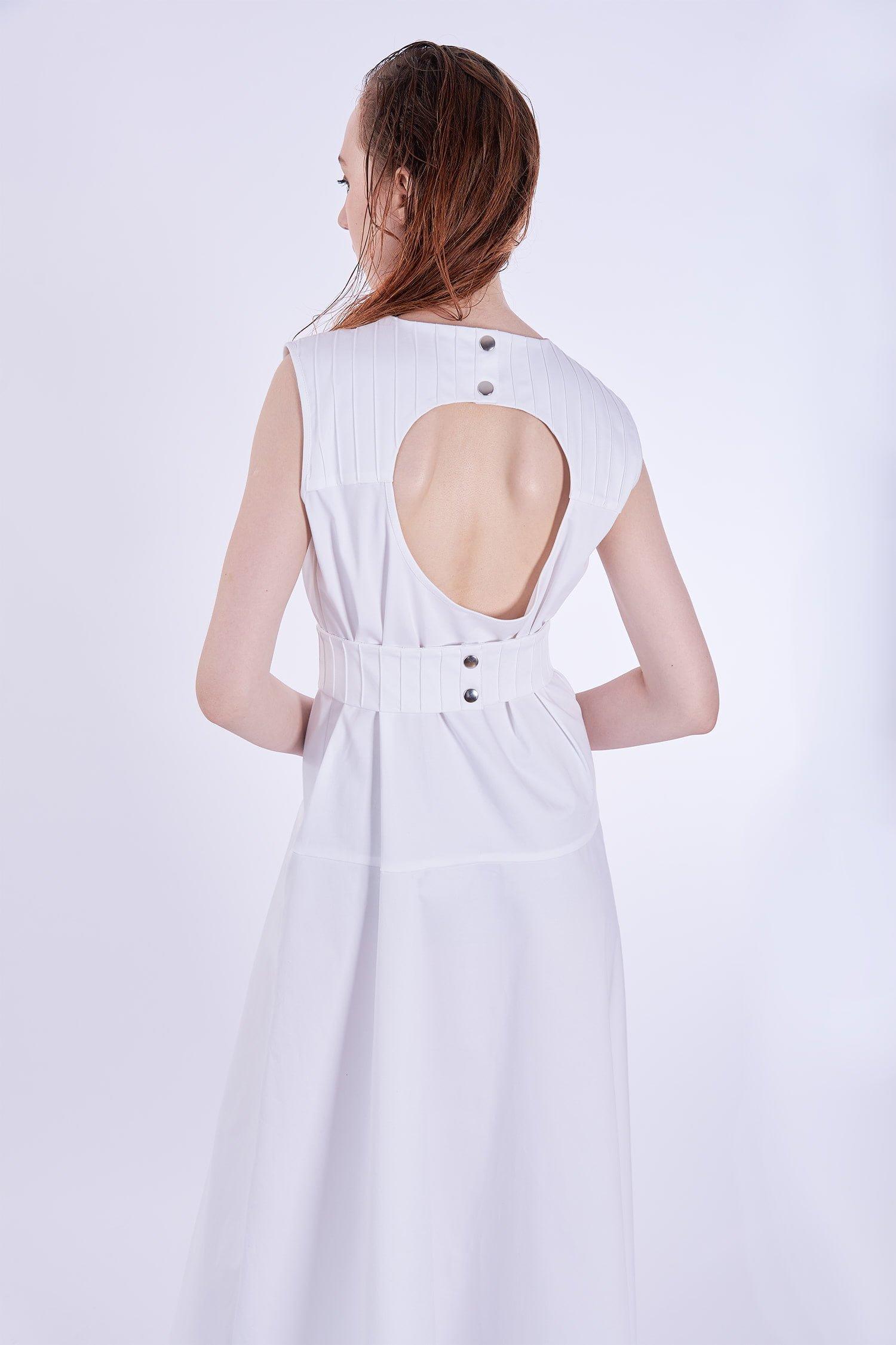 Acephala Ps2020 White Maxi Dress Biala Suknia Przyjecie Detail