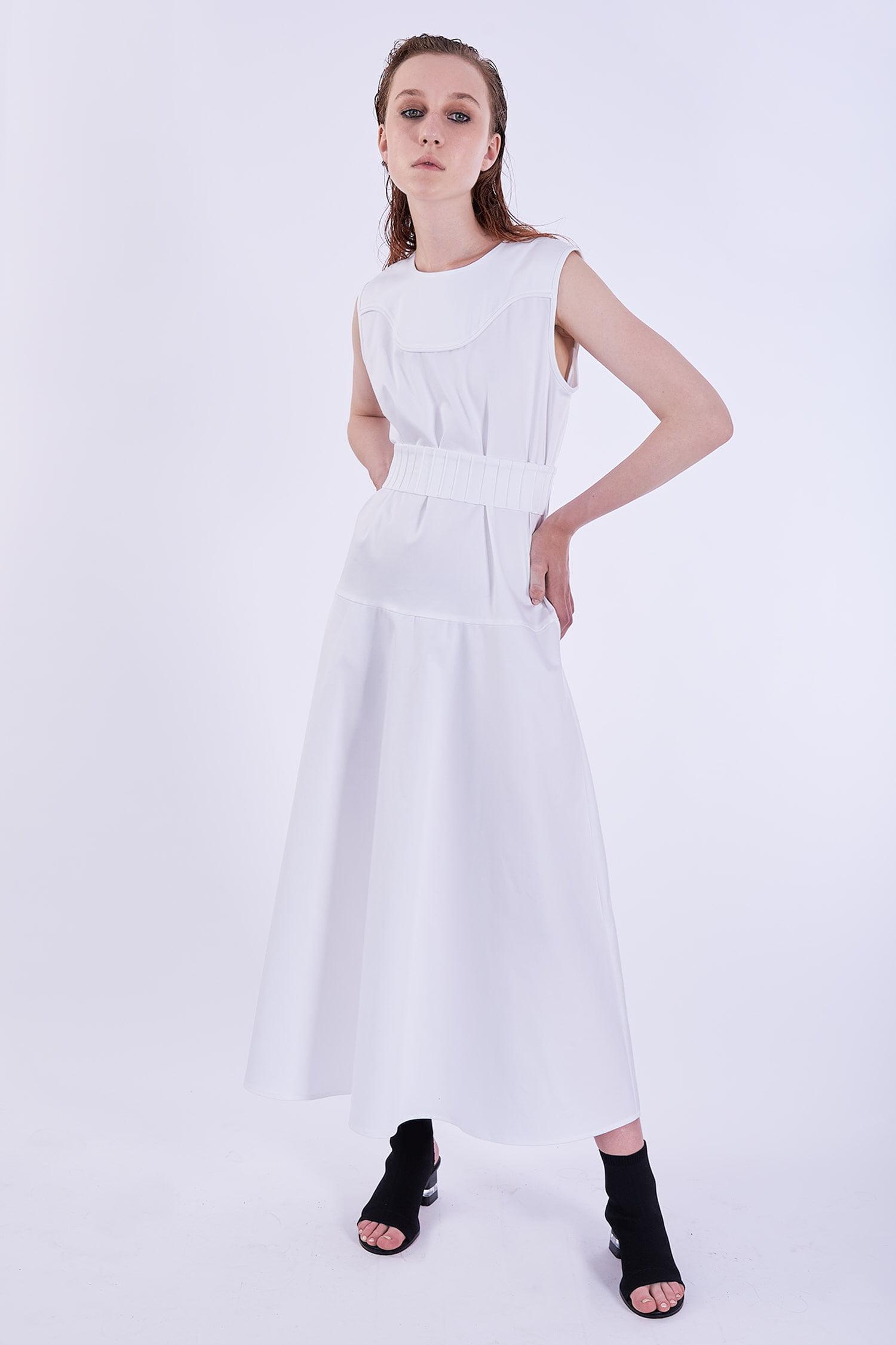 Acephala Ps2020 White Maxi Dress Biala Suknia Przyjecie Frony Side