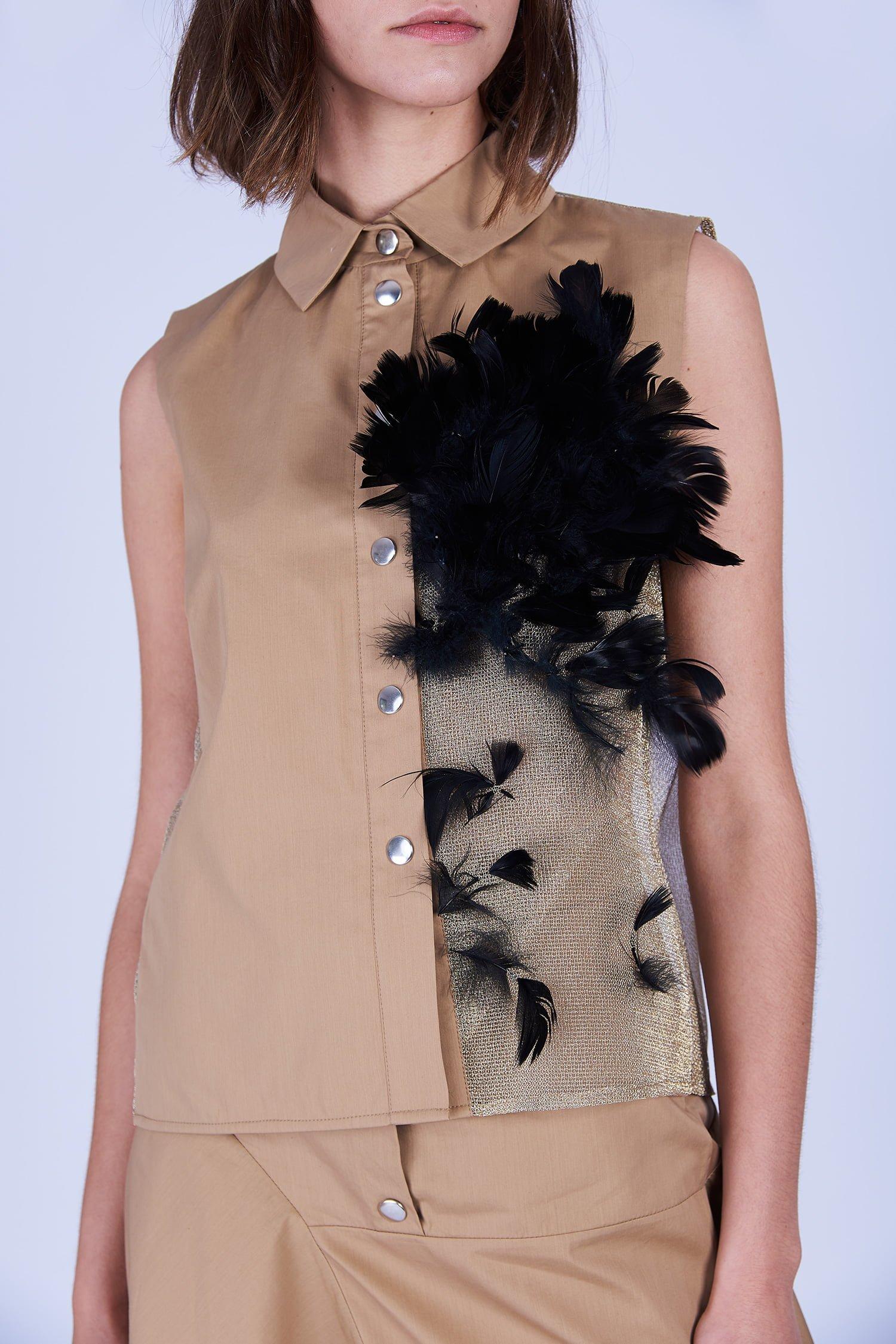 Acephala Ss2020 Beige Shirt Feathers Koszula Piorami Detail Front