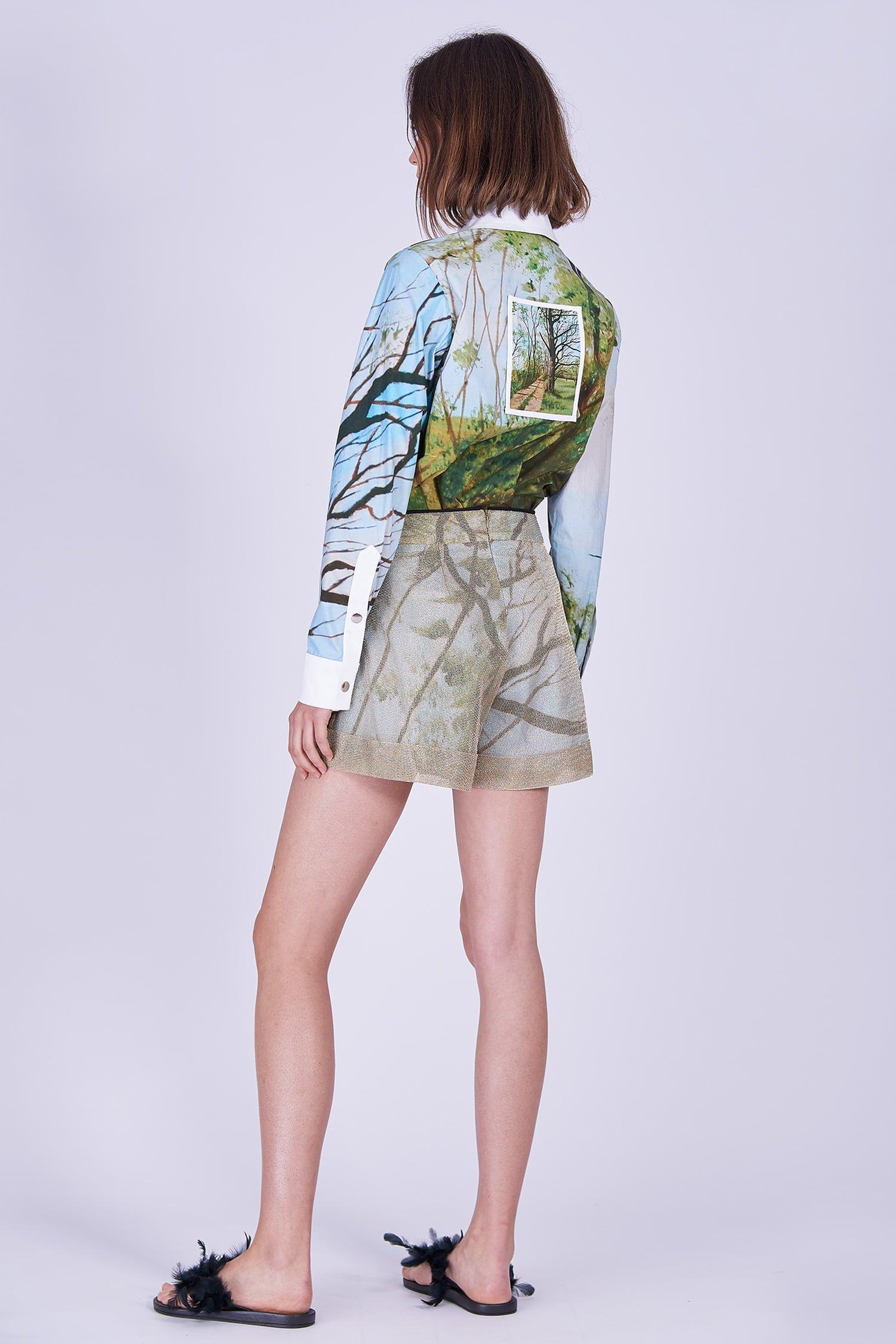 Acephala Ss2020 Printed Shirt Forest Golden Shorts Koszula Nadruk Las Zlote Szorty Back Side