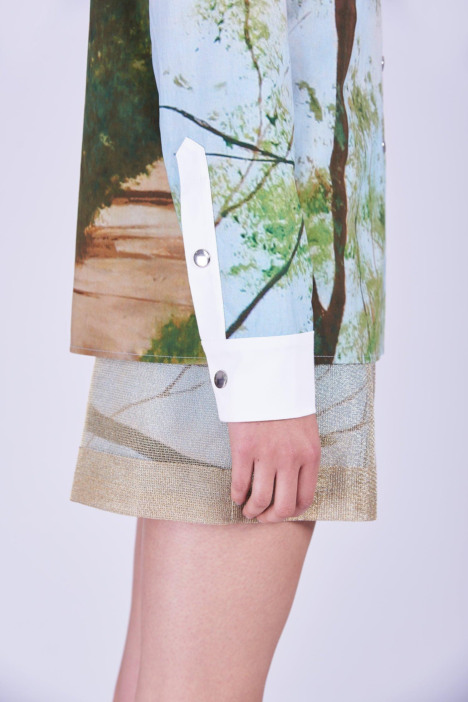 Acephala Ss2020 Printed Shirt Forest Golden Shorts Koszula Nadruk Las Zlote Szorty Front Detail Cuff 2