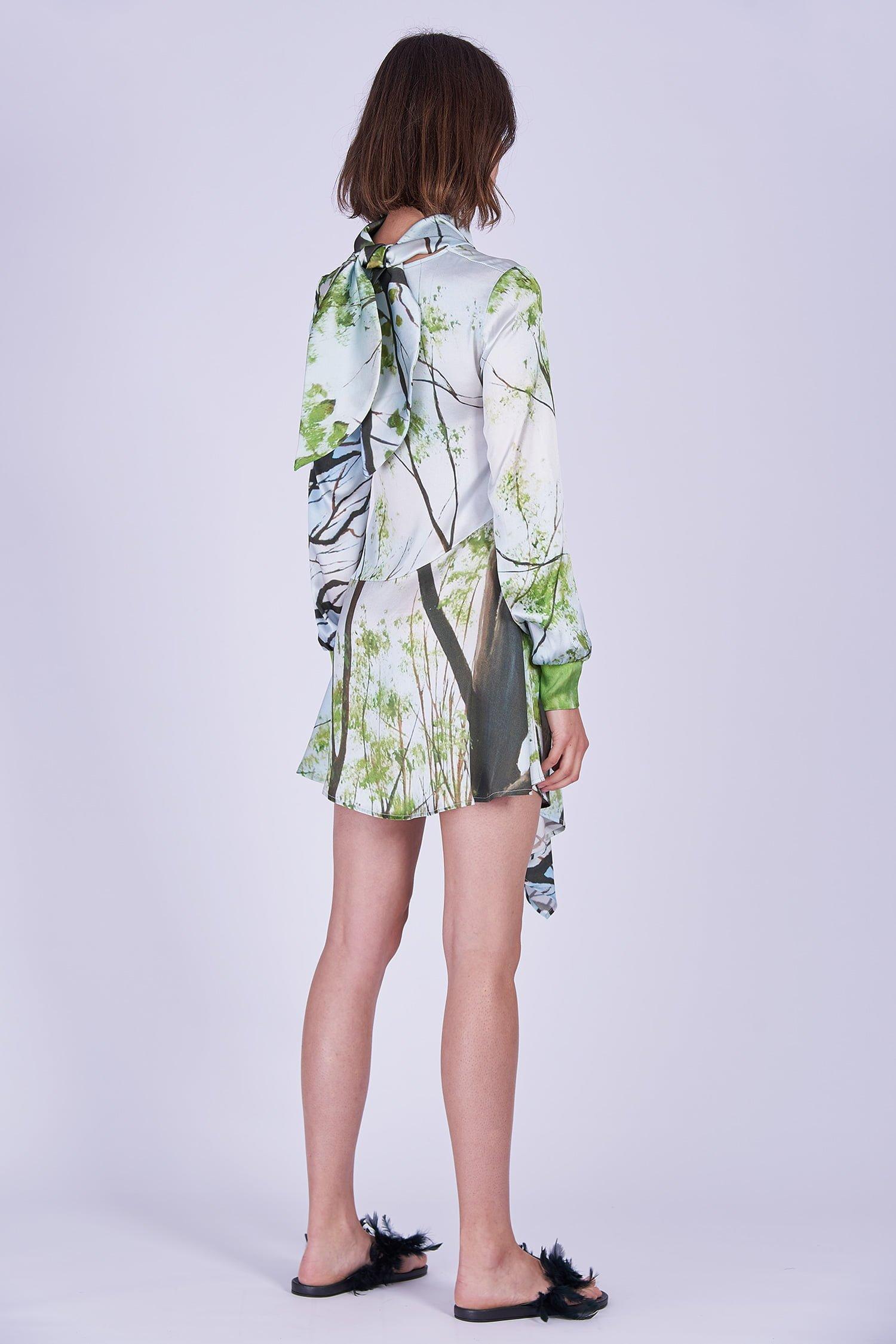 Acephala Ss2020 Printed Silk Longsleeve Dress Jedwabna Sukienka Print Rekaw Back Side
