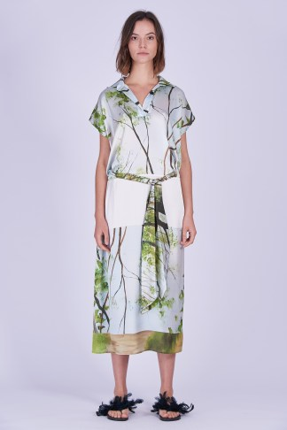 Acephala Ss2020 Printed Silk Shirt Dress Jedwabna Sukienka Print Front