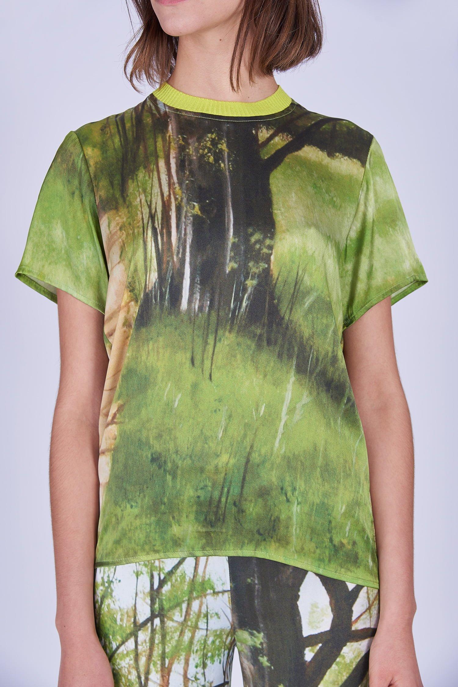 Acephala Ss2020 Printed Silk Tshirt Loose Trousers Jedwabny Jedwabne Luzne Spodnie Detail 1