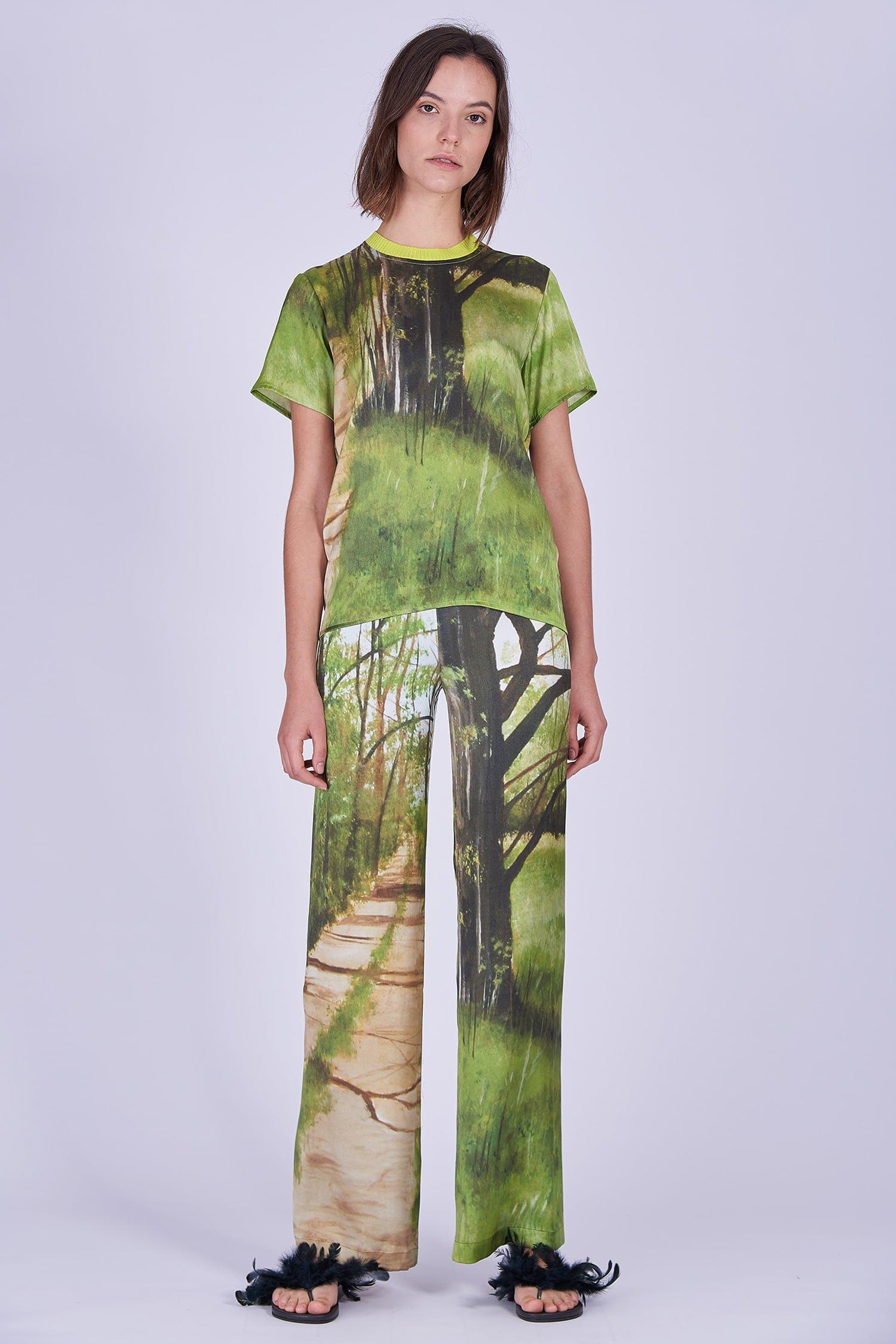 Acephala Ss2020 Printed Silk Tshirt Loose Trousers Jedwabny Jedwabne Luzne Spodnie Front 2