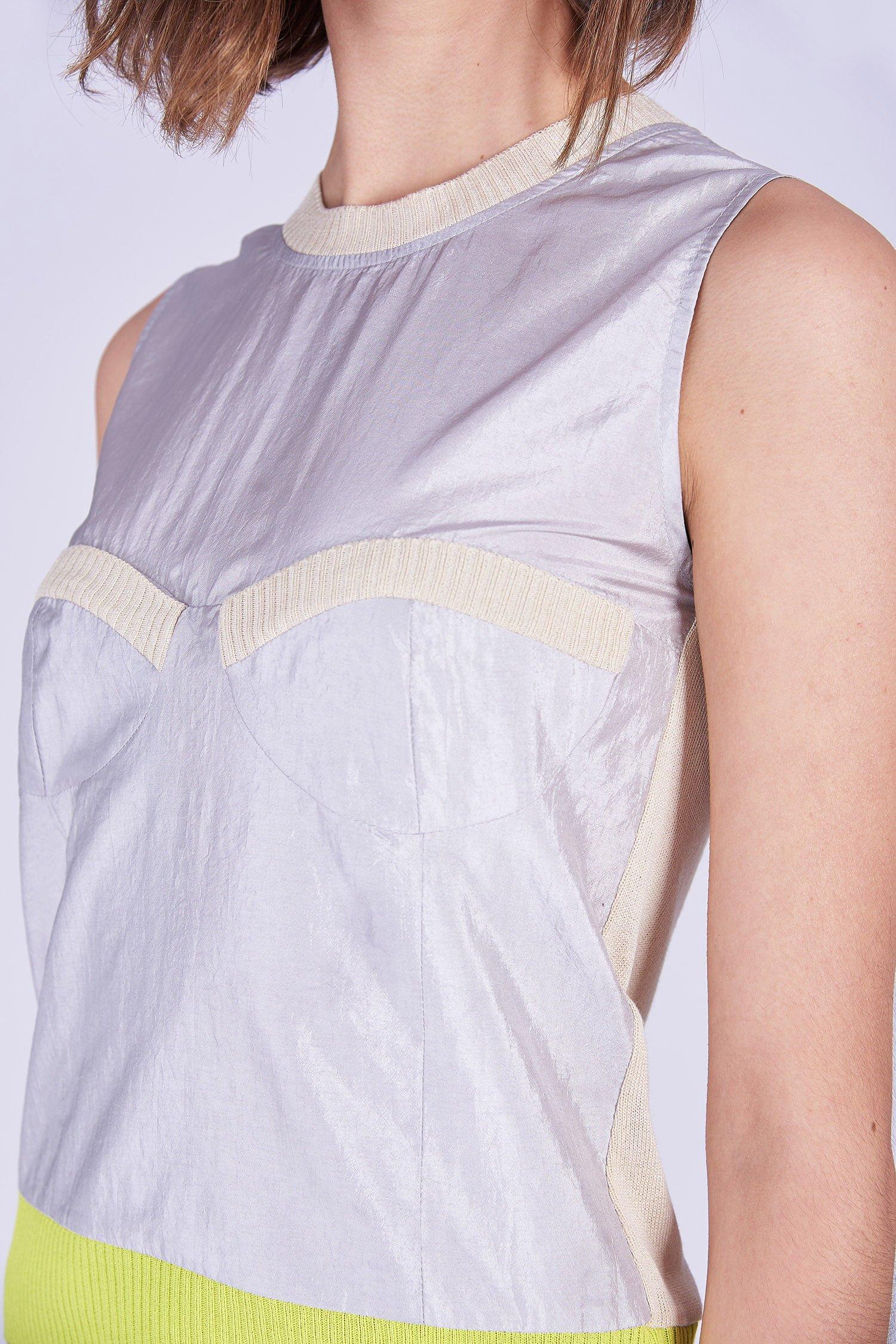Acephala Ss2020 Silver Bustier Top Beige Cargo Trousers Srebrny Gorsetowy Bezowe Spodnie Detail