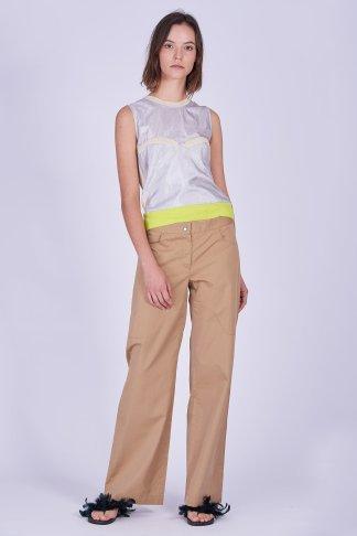 Acephala Ss2020 Silver Bustier Top Beige Cargo Trousers Srebrny Gorsetowy Bezowe Spodnie Front 2