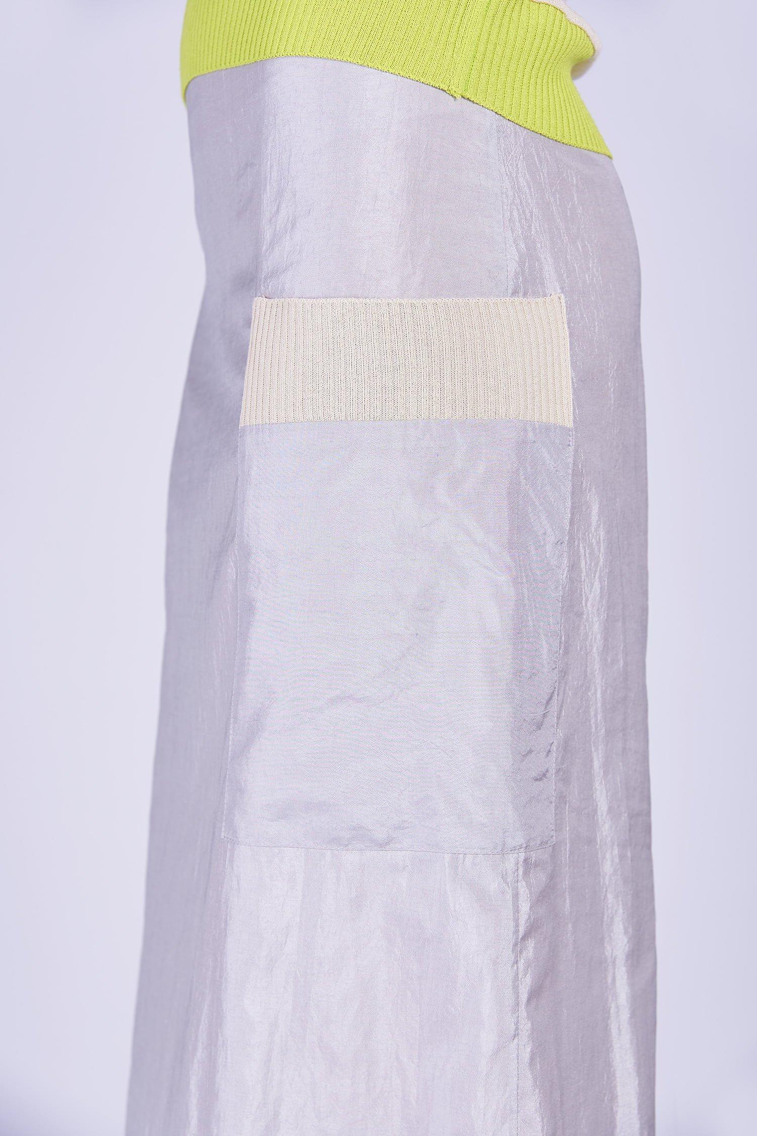 Acephala Ss2020 Silver Bustier Top Midi Skirt Srebrny Gorsetowy Srebrna Spodnica Detail