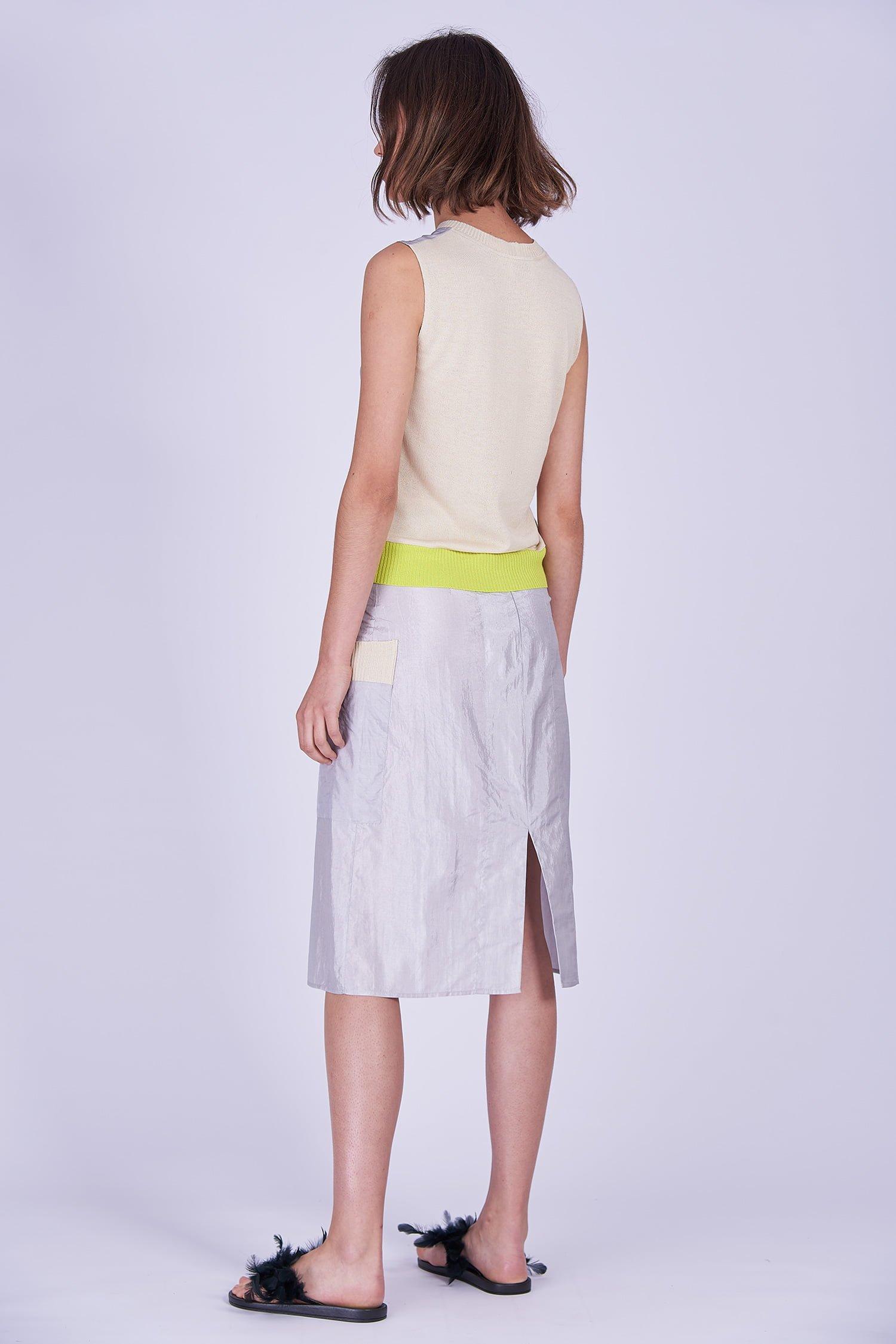 Acephala Ss2020 Silver Bustier Top Midi Skirt Srebrny Gorsetowy Srebrna Spodnica Side Back