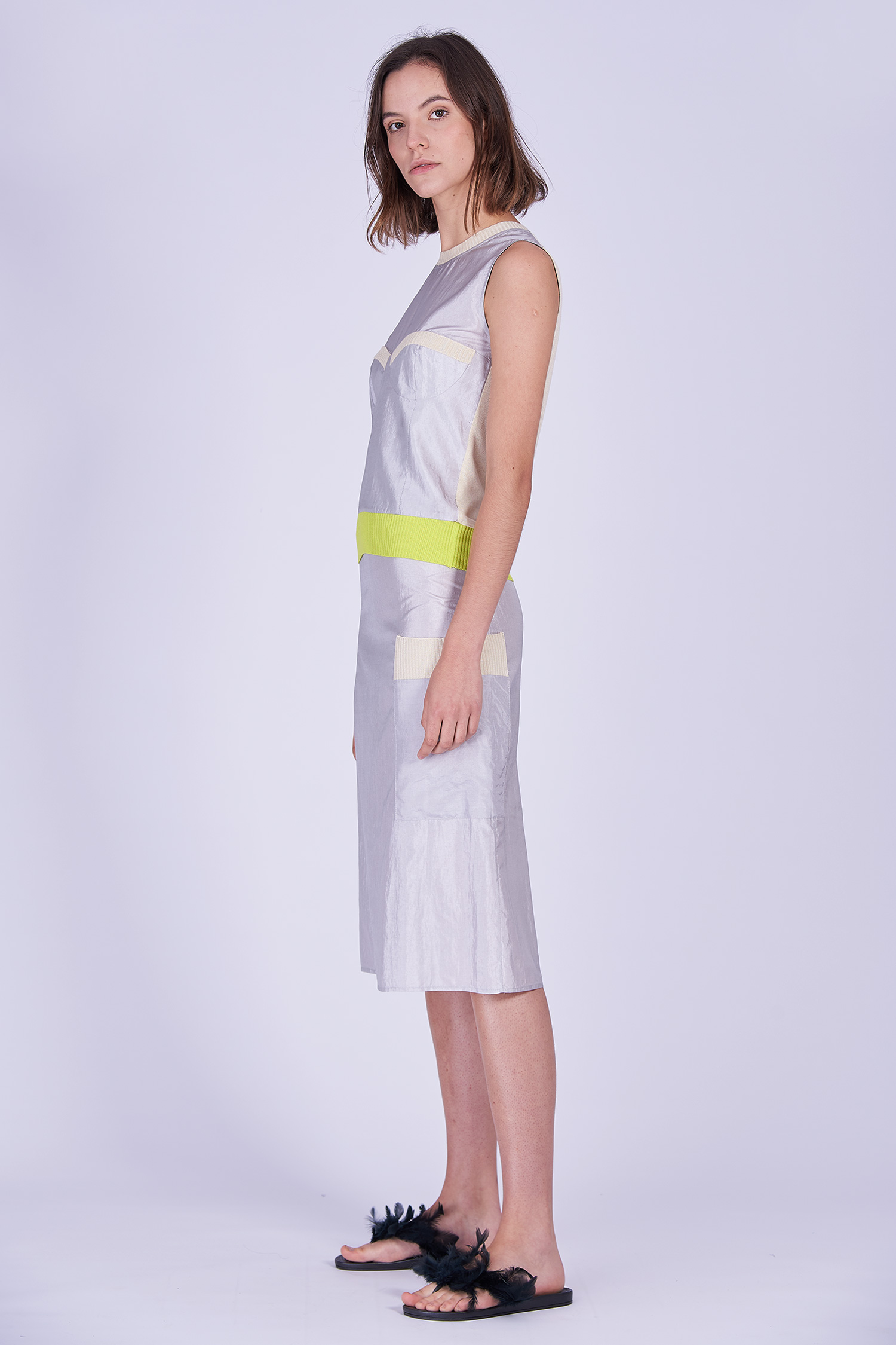 Acephala Ss2020 Silver Bustier Top Midi Skirt Srebrny Gorsetowy Srebrna Spodnica Side