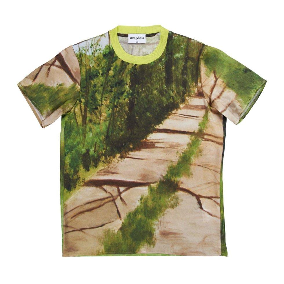 Acephala Ss20 Forest Print T Shirt Silk Jedwabny Nadruk Las