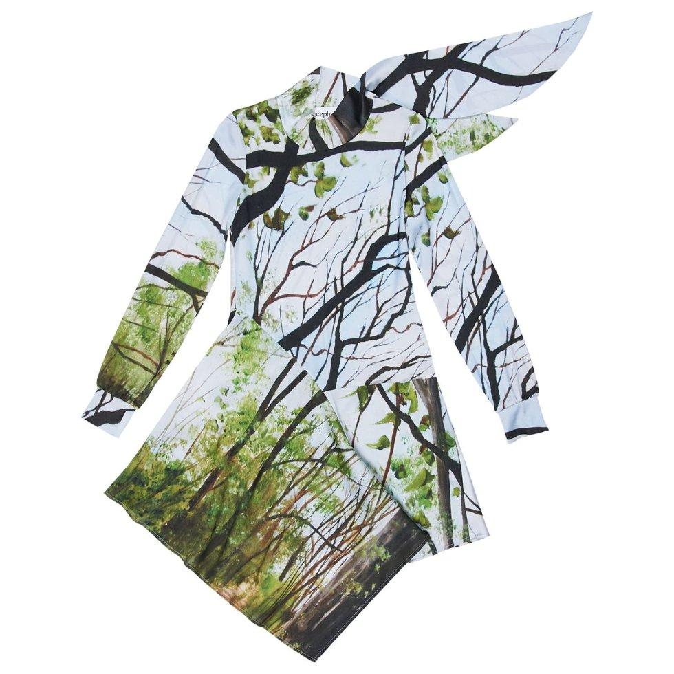 Acephala Ss20 Silk Print Forrest Asymmertic Dress Sukienka Jedwab Nadruk Las Asymetryczna