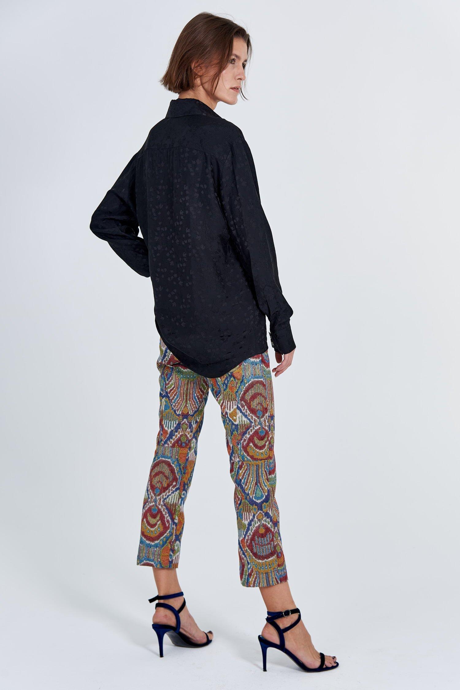 Acephala Fw 2020 21 Black Jacquard Shirt Jacquard Trousers Back Side