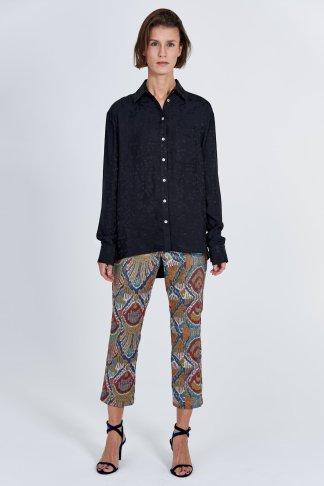 Acephala Fw 2020 21 Black Jacquard Shirt Jacquard Trousers Front