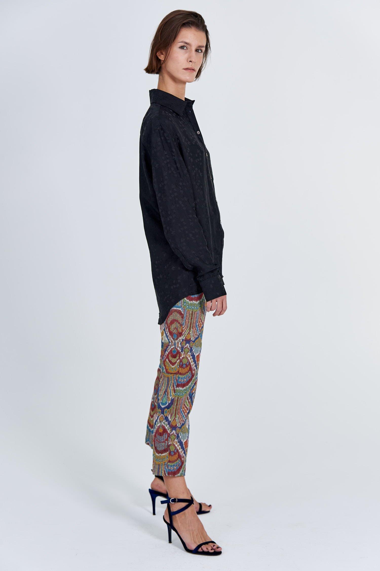 Acephala Fw 2020 21 Black Jacquard Shirt Jacquard Trousers Side