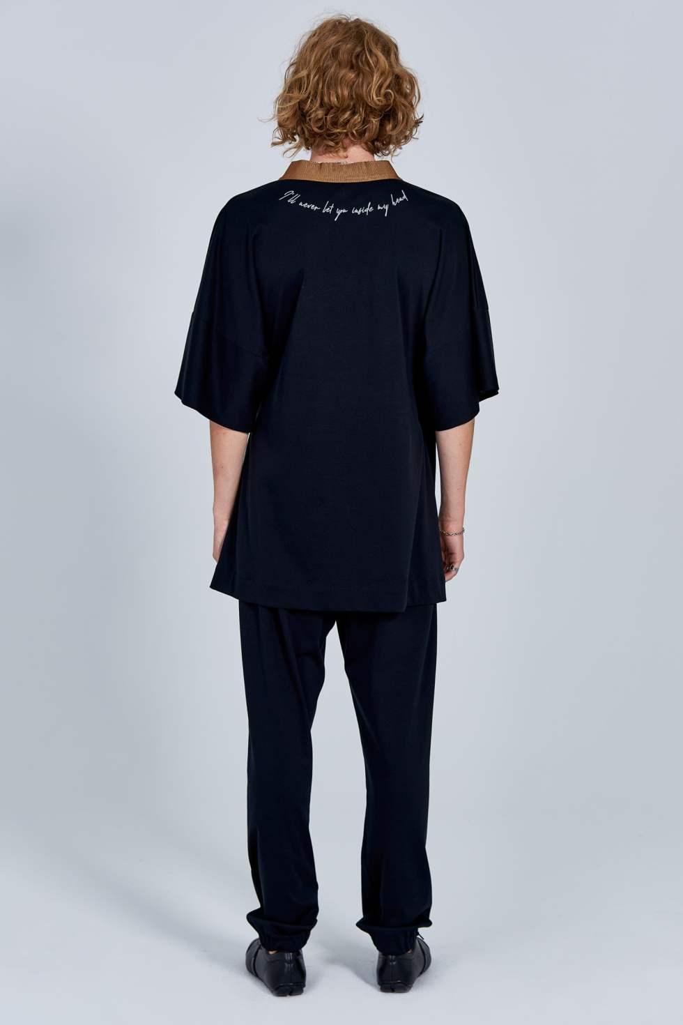 Acephala Fw 2020 21 Black Unisex Kimono With Back Embroidery Back