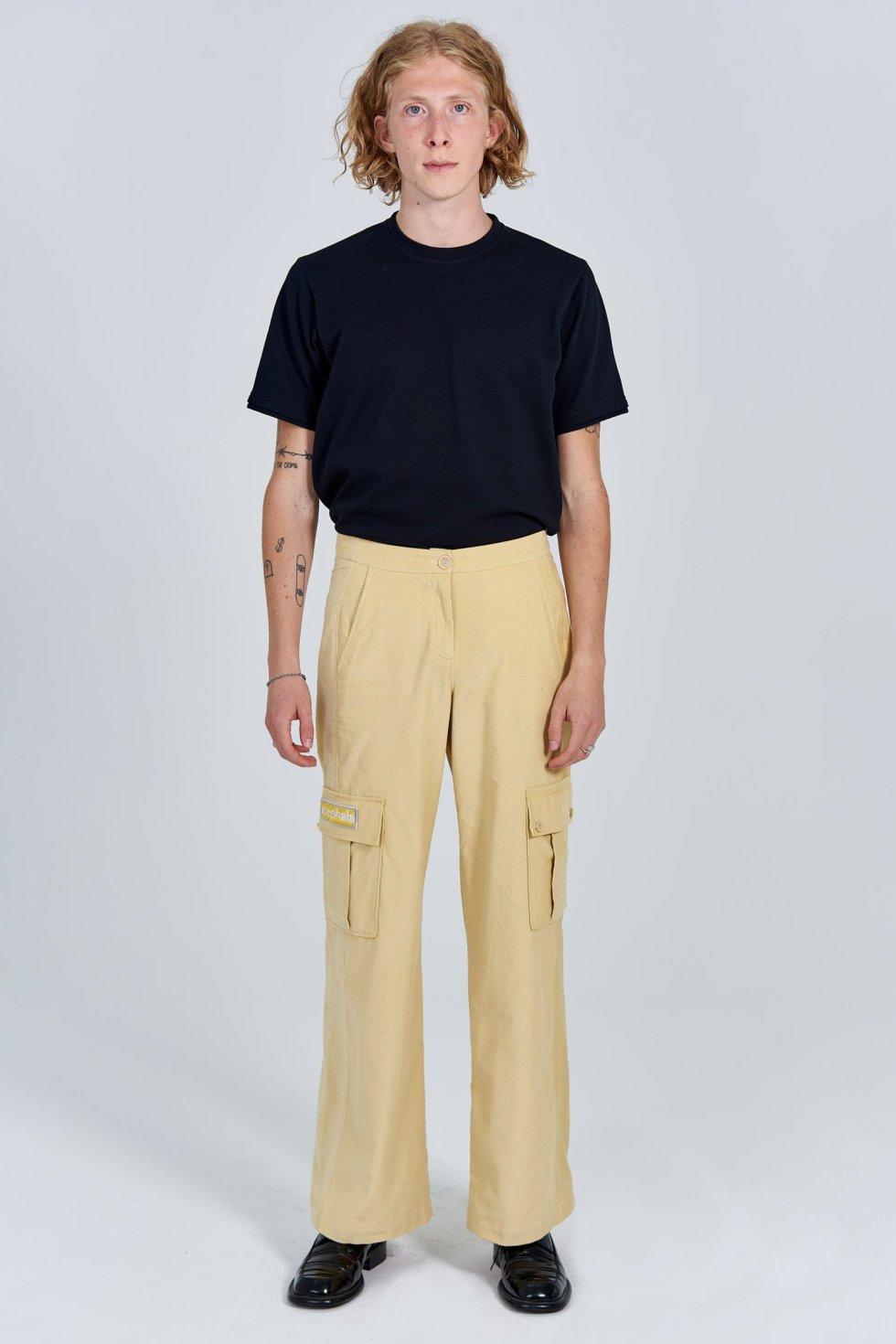 Acephala Fw 2020 21 Black Unisex T Shirt Yellow Corduroy Trousers Male Front