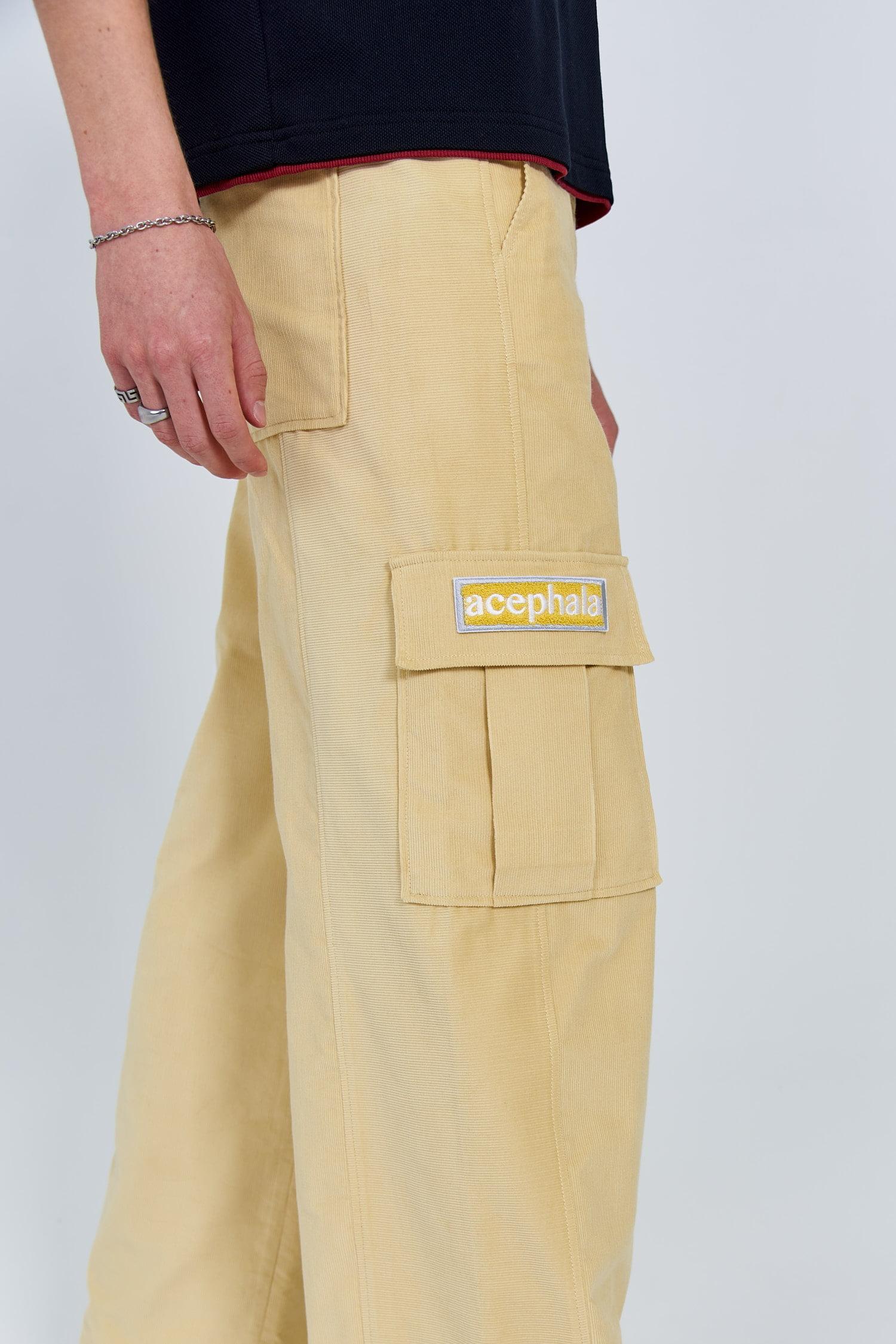 Acephala Fw 2020 21 Black Unisex T Shirt Yellow Corduroy Trousers Patch Detail