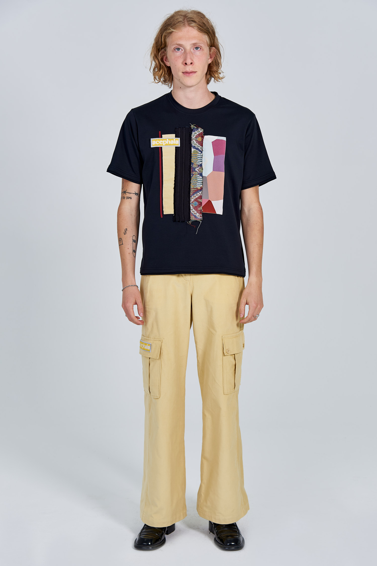 Acephala Fw 2020 21 Patchwork T Shirt Yellow Corduroy Trousers