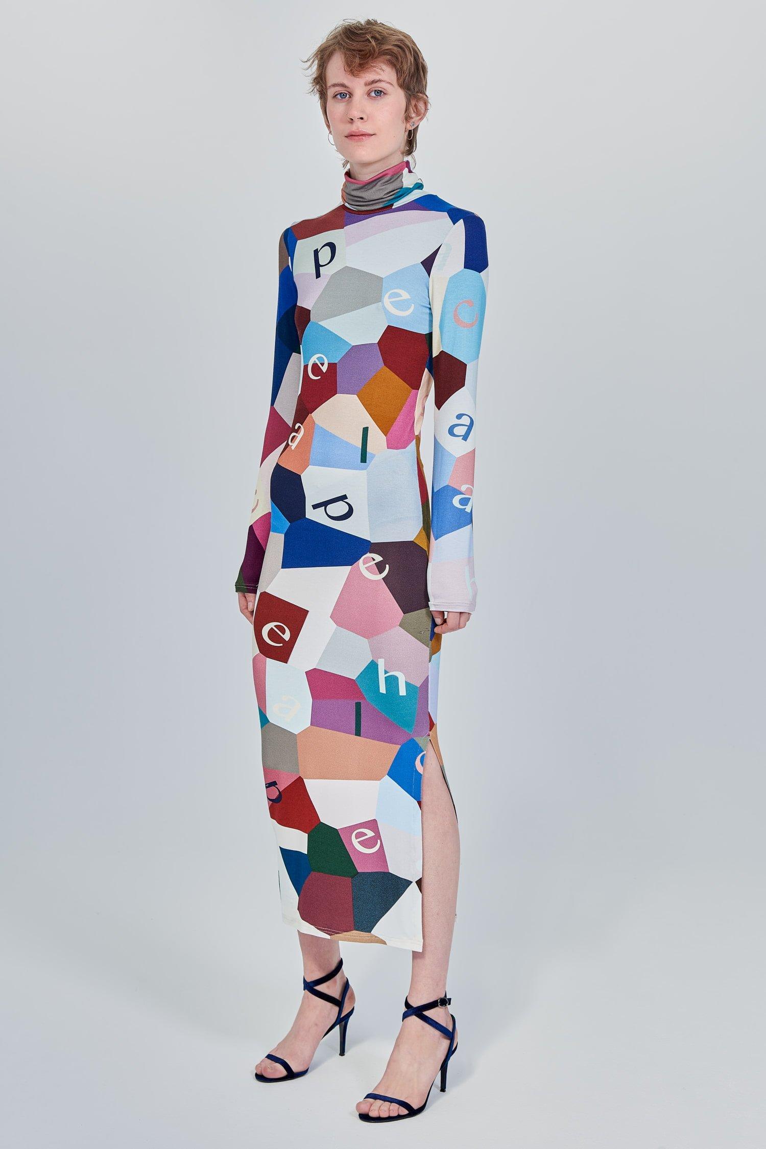 Acephala Fw 2020 21 Printed Turtleneck Long Dress Side Left
