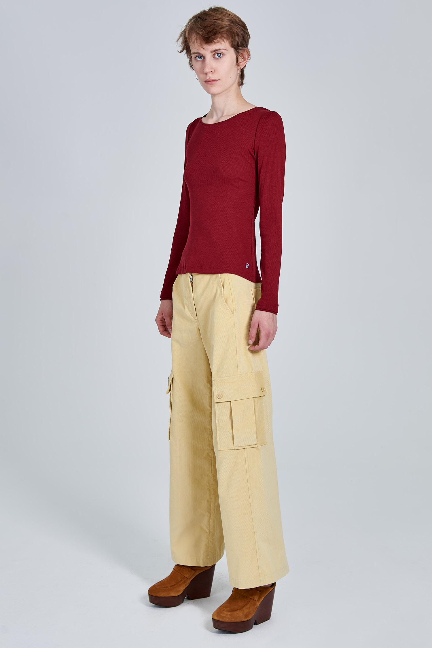 Acephala Fw 2020 21 Red Longsleeve Corduroy Trousers Female Side