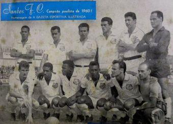 F 08 - 1960 - Zé Carlos, Zito, Dalmo, Calvet, Mauro e  Laércio_ Sormani, Mengálvio, Coutinho, Pelé e Pepe