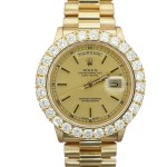 Rolex Mens 18K President Day Date with 7 ct Diamond Bezel