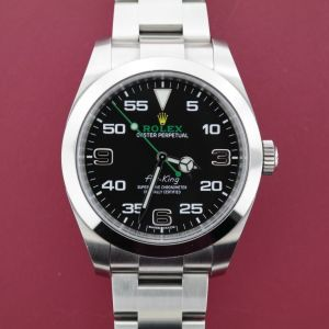 Men's Rolex Air-King 116900 Stainless Steel Black Arabic Numeral Dial