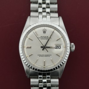 Mens Rolex Reference #1603 Stainless Steel Black Dial