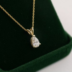 3/4 CT Pear Shaped Diamond Pendant With 14k Chain