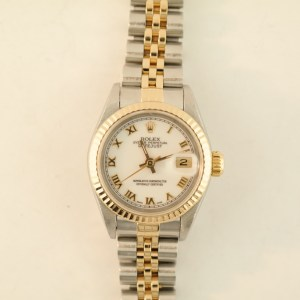 Ladies Rolex Datejust 69173 Two-Tone White Roman Dial